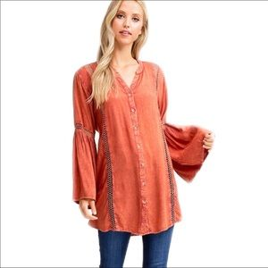New Long Flared Bell Cuff  Form Fitting Blouse